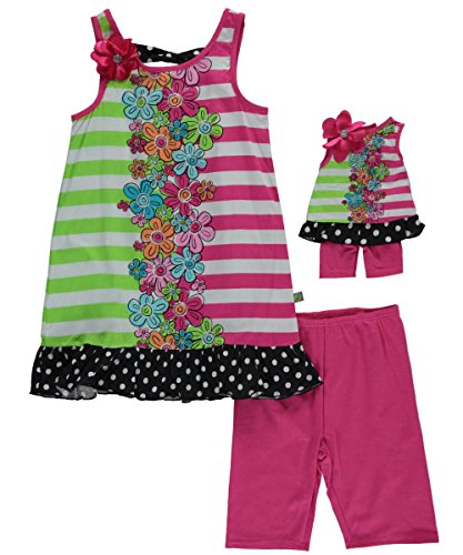 Dollie & Me Big Girls' Color Block Floral Bike Short Set, Multi/Pink, 12