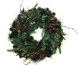 Good Tidings 24-Inch Australian Pine Artificial Christmas Wreath with Red Berries, Mistletoe and Eucalyptus