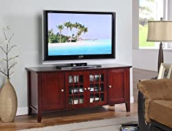 King's Brand E002 Wood Plasma TV Console Stand Entertainment Center, Dark Cherry by King's Brand