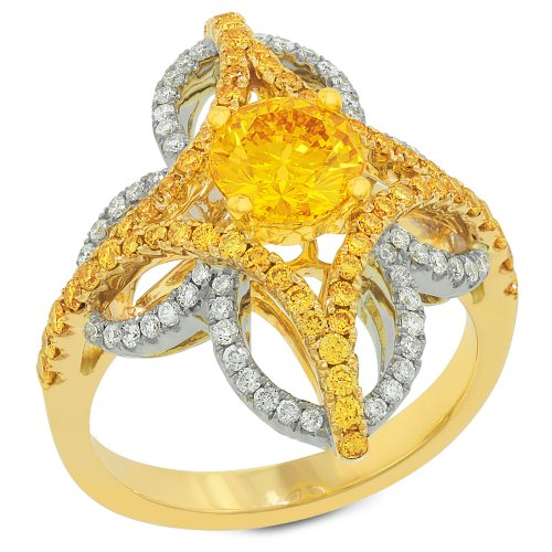 Gemesis Created Diamond, Vivid Fancy Orange Yellow, 80'S Cut Coronet Design Ring With Yellow Accent Diamonds & Micro Pave, 14Kt T/T, Ring, 1.77 Tcwt