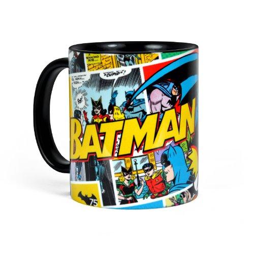 Batman - Tazza comic style retrò resistente a microonde e lavastoviglie - Ceramica con 300 ml di capacità - Nero