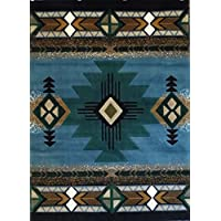 South West Native American Area Rug Design C 318 Blue