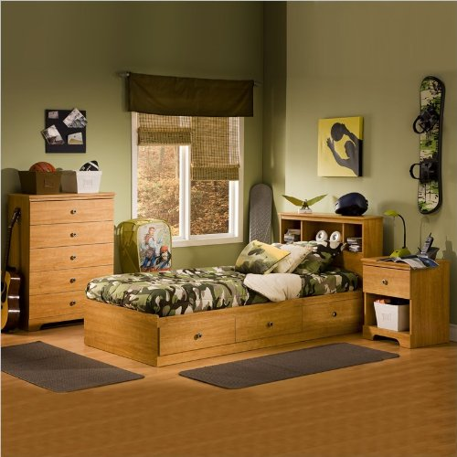 South Shore Brinley Kids Twin Wood Captain S Bed 4 Piece Bedroom Set In Florence Maple