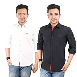 Anry Mens Cotton Casual Shirts Combo (pack of 2)