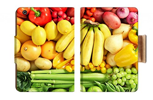 Fruits Vegetables Color Diet Banana Mango Peppter Green Beans Onion Corn Carrot Tomato Grape Green Apple Celery Cucumber Potato Punktail'S Collections Apple Ipad Mini Retina Display Flip Case Stand Smart Magnetic Cover Open Ports Customized Made To Order