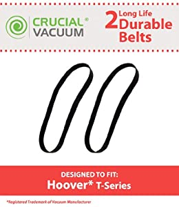 2 Hoover T-series Rewind Long-Life Non-Stretch Flat Vacuum Cleaner Belts; Replaces Hoover Part # 562289001, AH20065, MS 12.8X457 056 1024 B; Designed and Engineered by Crucial Vacuum