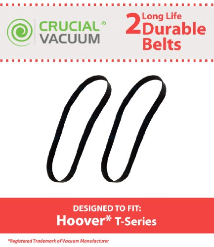 2 Hoover T-Series Rewind Long-Life Non-Stretch Flat Vacuum Cleaner Belts, Replaces Hoover Part # 562289001, Ah20065, Ms 12.8X457 056 1024 B, Designed And Engineered By Crucial Vacuum