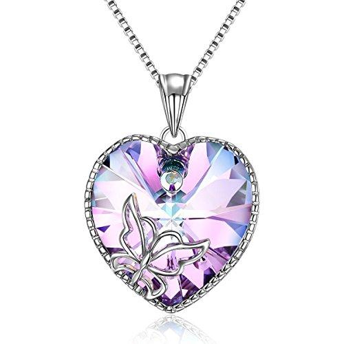 Adan Banfi Women Purple Blue Heart Pendant Chain Necklace Jewelry with Austrian Crystals,18