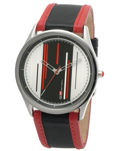 DFactory Men's DFC001ZRB White Label Black Dial Black Leather Strap Watch