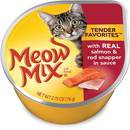 Meow Mix Tender Favorites with Real Salmon and Red Snapper in Sauce Wet Cat Food, 2.75-Ounce (Pack of 24)