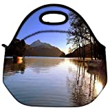 Snoogg Lake Side Trees Travel Outdoor Carry Lunch Bag Picnic Tote Box Container Zip Out Removable Carry Lunchbox Handle Tote Lunch Bag Food Bag For School Work Office