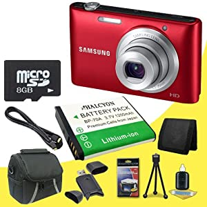 Samsung ST72 16.2 MP TFT LCD Digital Camera (Red) + BP-70A Replacement Lithium Ion Battery + 8GB microSD Memory Card + Carrying Case + SDHC Card USB Reader + Memory Card Wallet + Deluxe Starter Kit DavisMax Bundle