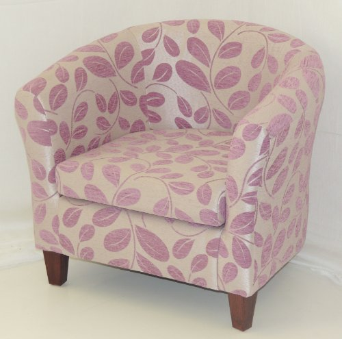 LIMITED EDITION FOXGLOVE PINK ORCHARD LEAF TUB CHAIR WITH MAHOGANY LEGS