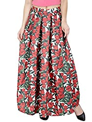 SVT ADA COLLECTIONS WHITE COLOR COTTON SATIN FLORAL LONG SKIRT (044306_White_FS)