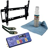 Zax TV Mounts 815825014299 85015 32-Inch to 60-Inch HDTV Mount with Axis HDMI Cable, FS ScreenClean and 8-Outlet PowerCenter