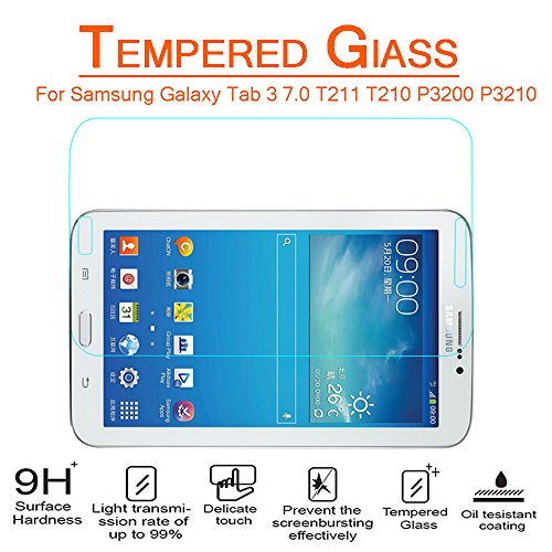 Anoke® Samsung Galaxy Tab 3 7.0 T211 T210 P3200 P3210 Tempered Glass Screen Protectors 9h Hardness, 2.5d Rounded Edges, 0.3mm Thickness For (T211)