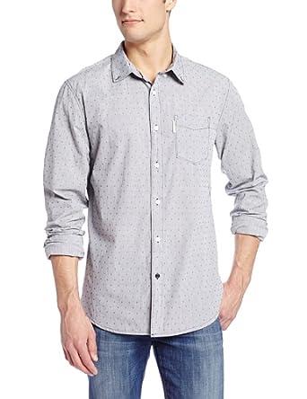 Marc Ecko Cut & Sew Men's Marks The Spot Long Sleeve Woven, Black/White, Large