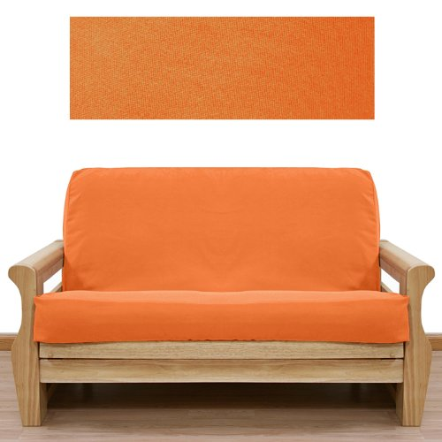 Ultra Suede Pumpkin Orange Futon Cover Queen 642 front-1035043