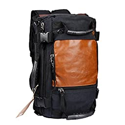 OXA Vintage Travel Backpack Daypack Canvas Bag Computer Rucksack College School Sports Bag Duffel Hiking Camping Bags Black