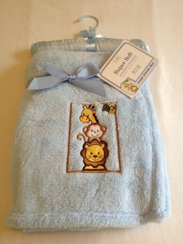 Baby Blue Jungle Friends Embroidered Super Soft Baby Boy Blanket Nursery Decor Shower Gift
