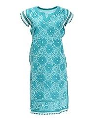Imperial Chikan Women's Cotton Straight Kurta (13993, Green, 40)
