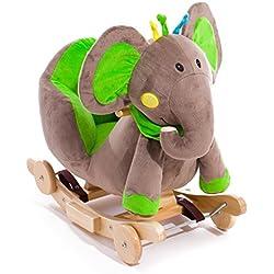 KinderKraft M00004905 Baby Schaukel Schaukeltier Schaukelpferd Plüsch Spielzeug Wippe Holz Schaf, grün