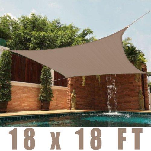 Lovely 18 X 18u0027 FT Feet Square UV Heavy Duty Sun Shade Sail Patio Cover Sand