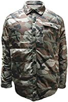 Mens Camouflage Print Snap Front Long Sleeve Jacket