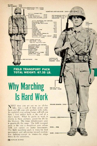 1951 Article Soldier Rucksack March Helmet Haversack Knapsack Bandoleer Marine - Original Print Article