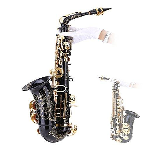Andoer® bE Sassofono in ottone laccato Gold bemolle Sax 82Z chiave strumento a fiato con la spazzola di pulizia panno Guanti Cork Grease tracolla imbottita Caso