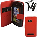 Credit Card Flip Skin Cover Case And Travel In Car Charger For Nokia Lumia 710 / Red