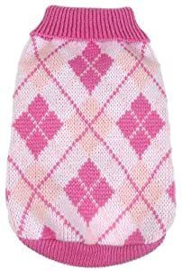 Pet Life Argyle Knitted Ribbed Fashion Dog Sweater, X-Small, Pink