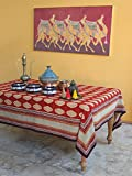 Spice Route ~ Red Orange Moroccan Themed Print Party Table Cloth 70x108