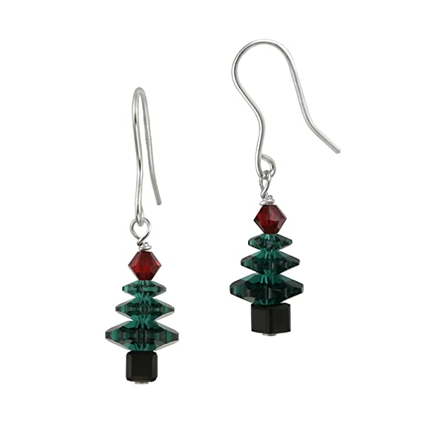 Christmas Tree French Wire Earrings Sterling Silver Colored Swarovski Crystallized Elements