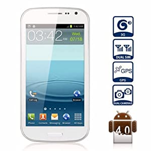 Unlocked Quadband Dual Sim Android 4.1 OS With 4.7 Inch Capacitive Touch Screen 3G Smart Phone - AT&T, T-mobile, H20, Simple mobile and other GSM networks (White)