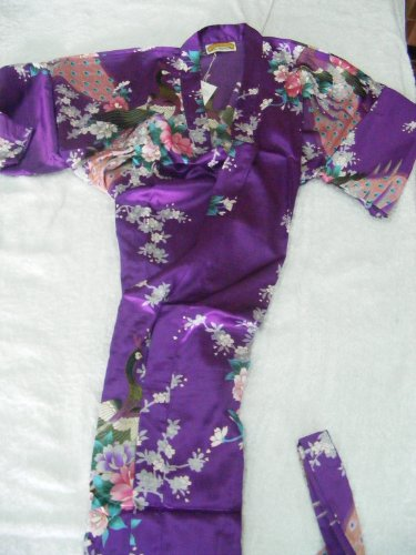 Women's 100% Thai Silk Robes- Asian Peacock Design- Royal Purple (Free Size)