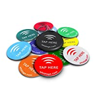 NFC tags - NTAG203 Chip - 10 Pack + Keychain + Free Bonus Tag - Android Writeable & Programmable - Adhesive Sticker Back - Samsung Galaxy S5 S4 S3 Note 3 - HTC One First One X Droid DNA - Sony Xperia - Nexus - Smart Tags - Best Money-Back Guarantee! by Wh