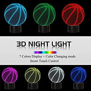 3D Illusion Lamp, 3D Night Light for Boys Girls Table Desk Lamp 7 Color Change Decor Lamp - Perfect Gifts Birthday Festival Christmas for Baby Teens Friends (Basketball)