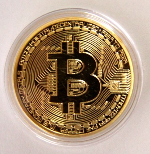 .999 Fine Gold Bitcoin Commemorative Round Collectors Coin - Bit Coin is Gold Plated Copper Physical Coin by BitCoin Shop