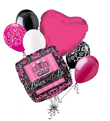 7 pc Black & Hot Pink Damask Bride to Be Balloon Bouquet Wedding Bridal Shower