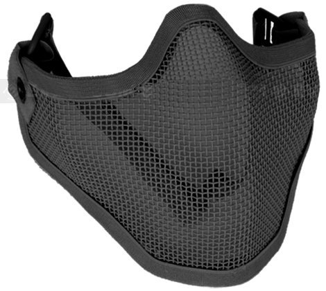 "Matrix Iron Face Carbon Steel ""Striker"" Metal Mesh Lower Half Mask (Black)"