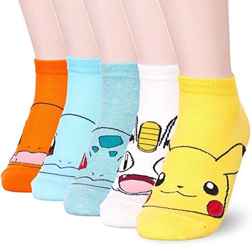 Pokemon Character Print Socks (Onesize, 5 Pairs)
