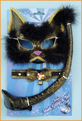 Deluxe Glitter White Kitty Cat Kit Costume Masquerade [Toy]