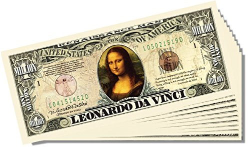 Leonardo Da Vinci Million Dollar Bill - 25 Count with Bonus Clear Protector & Christopher Columbus Bill