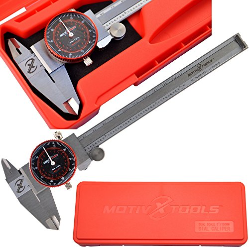 Motivx Tools 6 Inch / 150mm Dial Caliper With Case - Dual Scale Stainless Steel Caliper Takes Both Fractional and Metric Measurements (4 Inch Fractional Dial Calipers compare prices)