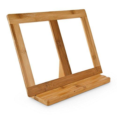 Buchstütze Bambus H x B x T: ca. 23,5 x 32 x 12 cm Buchständer für Koch- und Backbücher Buchhalter als Leseständer und Notenständer Kochbuchhalter für dicke Bücher Rezepthalter Holz, natur