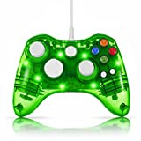 TNP USB Wired Gamepad Controller for PC & XBox 360 (Green) - Glow Lightning Joystick Joypad Supports Shock Vibration Feedback for PC Windows, Steam OS and Microsoft XBox 360 Slim [Xbox 360] [PC]