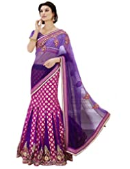 Jay Sarees Faux Georgette Purple Bollywood One Minute Saree - B00KVM4TCW