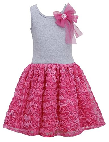 Girls 2T-6X Fuchsia-Pink Bow Shoulder Knit to Bonaz Rosette Mesh Overlay Dress прогулочная коляска cool baby kdd 6699gb t fuchsia light grey