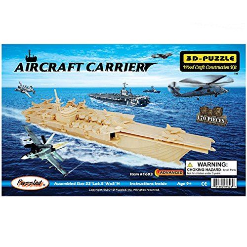 Blue ELF ® 3D Jigsaw Woodcraft Kit Wooden Toy Puzzle Model--Aircraft Carrier - 1